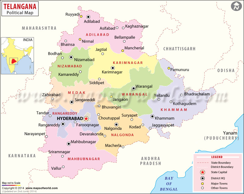 Telangana state to have more Districts