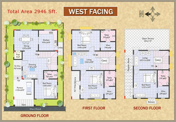 West Facing House Plans As Per Vastu In India - Home Decor